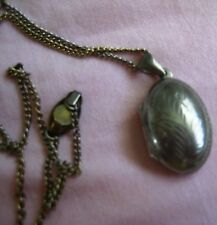 """Vintage 925 Sterling Silver Oval Photo Picture Hinged Locket Pendant 1"""" Etched"""