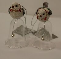 Christmas Bauble Tree Decoration 2 Hanging White Bird Glass Bell Ornaments SALE