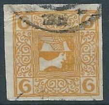 1908-10 AUSTRIA USATO GIORNALI TESTA DI MERCURIO 6 H CARTA SOTTILE - A110