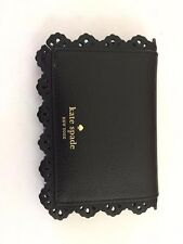 Kate Spade Cecelia Fordham Court Leather Card Case Wallet Black Lace NICE!