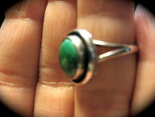 GREEN TURQUOISE STERLING SILVER RING Round Stone Size 5 Vintage