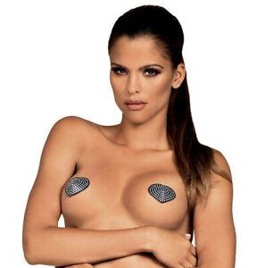 OBSESSIVE A750 Luxury Decorative Heart Shaped Satin Nipple Covers