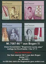 Rumänien 2016 Königin,Trachten,COSTUMES,IA Mi.7087-90 ** aus Bog,Aufl. 37