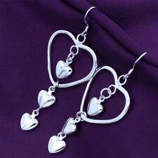 Lady Gift Dangle Drop Women Hollow Earrings Jewelry Heart Shaped Silver Plated