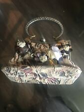 Vintage Petite Tapestry Snap Purse w/ Rhinestone Clasp & Chain Strap