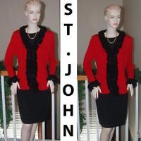 WOW ST. JOHN KNIT AMAZING RED & BLACK SANTANA KNIT RUFFLE TIE FRONT JACKET SZ 12
