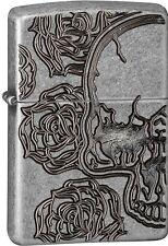 Zippo 2016 Catalog NEW Skull Armor Antique Silver Plate Deep Carve Lighter 28988
