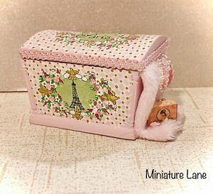PARIS Eiffel Tower ARTISAN Hand-Painted BESPAQ Chest 1:12 Dollhouse Miniature