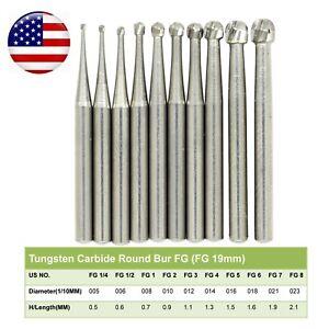Wave Dental Operative Bur Tungsten Carbide FG Round FG 1/4 1/2 2 3 4 5 6 7 8#