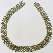 collier bijou vintage année 1970 large couleur argent maillon déco * 4507