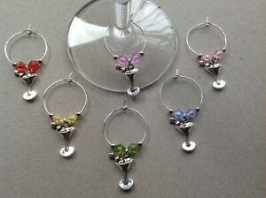 Handmade Set of 6/8/10/12 Cocktail Wine Glass Charms, hen, birthday party