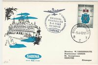 Belgium !963 Plane Brussel Hannover Sabena Cancel Town Pic Stamp Cover ref 22751