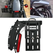 Motorcycle License Plate Side Mount Bracket Holder + LEDs For Harley 883 1200 XL