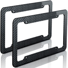 2pc Plastic Carbon Fiber Style OxGord License Plate Frames for Auto-Car-Truck