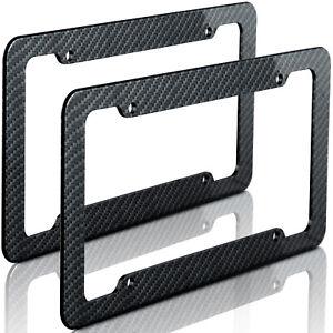 2pc Plastic Carbon Fiber Style OxGord License Plate Frames for Auto-Car-Truck