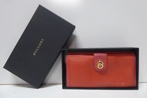 VINTAGE ORIGINAL BVLGARI RED LEATHER PURSE WALLET IN BOX MADE IN ITALY