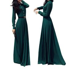 Retro Women Kaftan Abaya Islamic Muslim Ladies Long Sleeve Long Maxi Dress S-XL