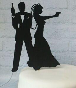 Wedding Cake Topper Spy Secret Agent Shotgun Silhouette Wedding Topper 007