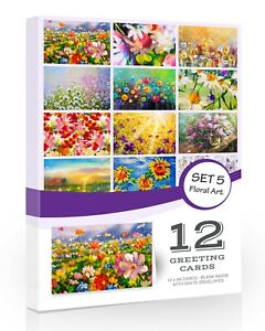 12 x Floral Blank Greeting Cards Pack Olivia Samuel with Envelopes