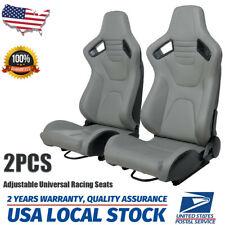 2x Racing Seats Gray Pu Leather Bucket Seatsamp Dual Sliders Adjustable Universal Fits Cts V
