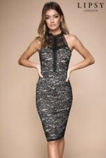 Lipsy 2 Tone (Black/Nude) Lace Halter Neck Bodycon Dress UK18 BNWT
