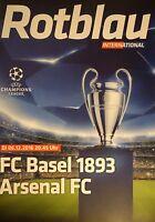Programm UEFA CL 2016/17 FC Basel - Arsenal FC