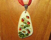 SHELL Pendant Russian FLOWERS hand painted White Lip Wild Strawberry & Daisies