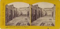 Pompei Casa Del Poeta Italia Foto R. Rive Stereo Vintage Albumina Ca 1870