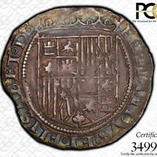 FINEST & ONLY @ NGC & PCGS AU53 1474 ONE REALE CALICO-358 SPAIN TONED SHIELD OLD