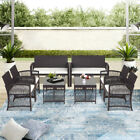 Us Coffee Table 8pcs Brown Cushioned Rattan Patio Set Garden Outdoor Furniture