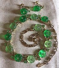 "True Vintage Signed Lisner Green ""Jelly"" Lucite Flower Necklace Earring Set"
