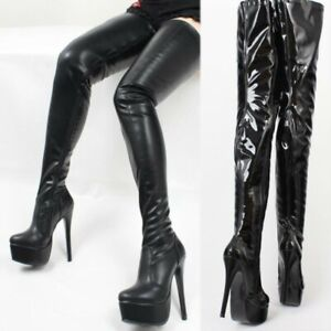 New Womens Over The Knee Boots Platform High Stiletto Zipper Thigh Dancing Shoes