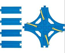 Tomy Blue track 4 way crossing ,1/2 straight rail R14 track , Cross Point Rail