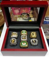 Miami/Florida - 7 Ring Set.. Heat, Marlins, Dolphins.. With Wooden Display Box