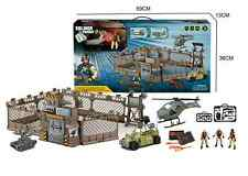 Army Base Set Tank Action Figure Helicopter Army Buggy Jeep Military Base Navy