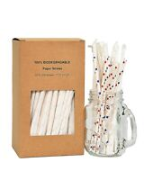 Wrapped Paper Straws Biodegradable – Premium 200 RED WHITE BLUE STARS Drinking