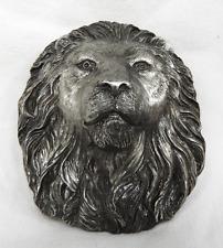 Vintage Lion Head Pewter Belt Buckle - Bergamot Works, USA 1978