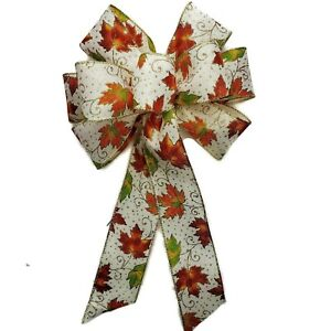 """Large 10"""" Hand Made Bow -Fall Leaf Orange Halloween Thanksgiving Wired Wreath"""