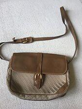 Gucci Handbag Shoulder Bag Vtg Logo Gg  Brown Canvas Leather M L