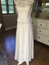 MONSOON EMBELLISHED IVORY BANDEAU STRAPS WEDDING DRESS BUSTIER SKIRT BEACH 8 10