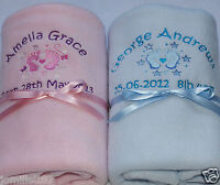 Personalised Baby Fleece Blanket - Handprints or Footprints - Embroidered Gift