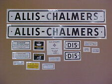 Decal set for Allis Chalmers D15 decal set, TRACTOR
