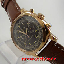 44mm Parnis coffee dial rose Gold plated Case full Chronograph mens quartz watch