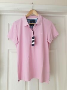CREW CLOTHING Polo Shirt NWT Pale Pink Short Sleeve Classic T-Shirt UK Size 14