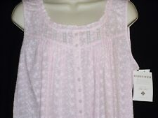 L NEW w/tag EILEEN WEST Short Nightgown Chemise Pink Embroidered Cotton Lawn $66