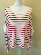 Love By Design Red & White Stripe Long Sleeve Knit Sweater Flare Sleeves Size XL