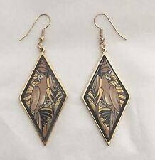 MICHAELA FREY WILLE Enamel Tropic Rosa Brown Parrot Bird Hook Dangle Earrings