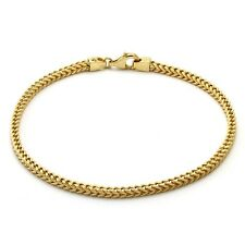 14K Italian Yellow Gold Hollow Franco Link Bracelet, 7.5''