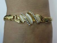 18k Gold Filled Austrian Crystal Bracelet / Bangle with Opal stones 22cm length