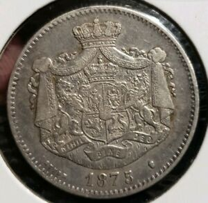 1875 2 Lei Silver.Romania - Scarce